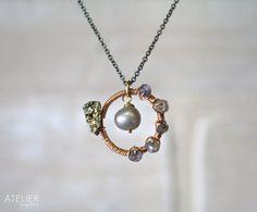 Pyrite Drusy Pearl Labradorite and Iolite by ATELIERGabyMarcos, $59.00