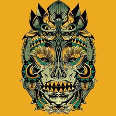 Aztec Jewel Skull - vector by Vik Kainth | funky colourful take on a traditional skull. Sugar skulls ...