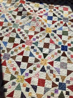 Half square triangles, four patch, nine patch and some wacky squares with equilateral triangles inside. Pretty amazing