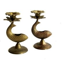 Vintage Brass Fish Candlestick Holders Incense Burner Nautical Decor... ($49) via Polyvore featuring home, home decor, brass home decor, fish home decor and brass home accessories