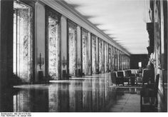 Albert Speer interior. This hall was made to be 2 times longer then Versailles, hall of mirrors.. Hitler wanted it to be made of marble and cause major intimidation to the person who was walking down it..