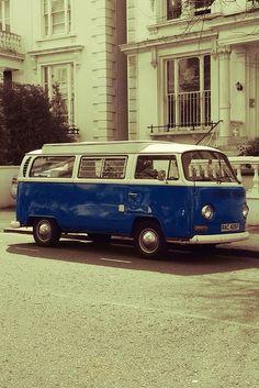 Blue 1973 Vintage Camper Van