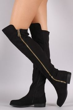 Bamboo Side Zipper Trim Riding Over The Knee Boots – Agustina's Closet Thigh High Boots, Over The Knee Boots, Heeled Boots, Shoe Boots, Open Toe Boots, Low Heels, Me Too Shoes, Riding Boots, Fashion Shoes