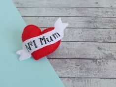 Felt brooch gift for Mum Mothers Day gift heart pin felt Felt Gifts, Gifts For New Moms, Gifts For Mum, Baby Gifts, Vintage Style Tattoos, Felt Brooch, Red Felt, Blanket Stitch, New Mums