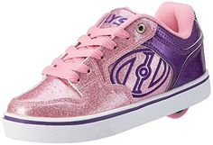 Heelys Youth 770818H Motion Sneakers, Purple/Pink/Glitter - 1:   Heelys' Motion Plus Roller Shoe features a vulcanized style outsole and a large embroidered logo on the quarter. It has low profile, removable wheels in the heel that transform these kicks into skates. Great for the child who always wants to be on the go!.