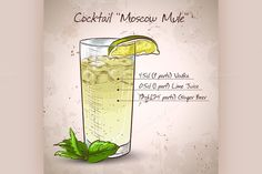 Cocktail Moscow mule by Netkoff on Creative Market