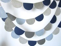 Wedding garland, Gray and Navy Paper Bunting, Blue and Gray Paper Bunting, Photo prop, Nursery decor on Etsy, 99:60kr