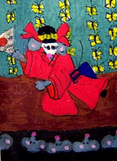 NFAC June ACEO Madame Butterfly mousified mice mouse Original Whimsical cartoon