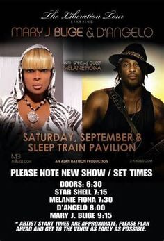 Mary J Blige & D'Angelo!! Amazing show with Mitzi, Javon & friends. Soo fab! Sept 8,2012 at Sleep Train Pavilion in Concord.