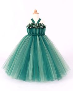 Flower Girl Tutu Dress  Green  Divine by Cutiepatootiedesignz, $80.00