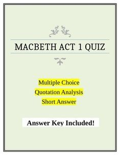 A comprehensive quiz on Act 1 of the play. Comprised of:Multiple choice questionsQuotation Analysis questionsShort answer questionsQuiz is saved as an Microsoft Word document to allow easy editing and updating. Easily change the quotations and short answer questions to create an unlimited number of different quizzes.Grades 9 through 12