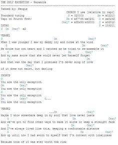 The Only Exception-Paramore chords