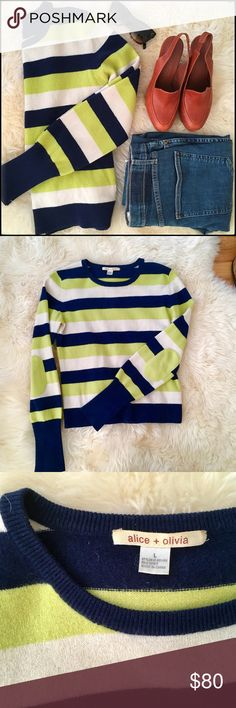 Alice + Olivia Striped Cashmere Crewneck Sweater Striped cashmere; ribbed hems; soft elbow patches. Simply adorable cashmere sweater by alice + olivia. Size Large, but really more suited for a size Small or Medium. Alice + Olivia Sweaters Crew & Scoop Necks