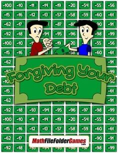 Forgiving Your Debt {Integer Activity}  https://www.teacherspayteachers.com/Product/Forgiving-Your-Debt-Integer-Activity-1762883 #math