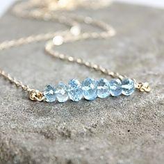 #Blue #Aquamarine Necklace #Jewelry #MarchBirthstone #OhKuol #Handmade