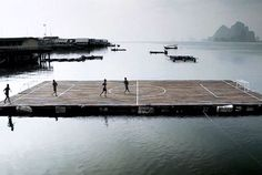 Soccer Island -this would be amazing to play on you could just shove people off the field and into the water