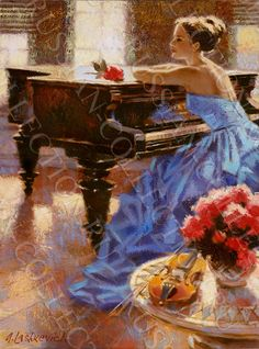 """""""Melody AM"""" by Alex Lashkevich  Not satisfied with merely imitating old masters, however, Alex Lashkevich has taken it upon himself to create a hybrid style that's slightly more refined than the works of artists from the 1800s. The smooth transition of his subjects' skin from one plane to another is evocative of airbrushing techniques, while Lashkevich maintains the rough, quick and movement-oriented brushwork commonly associated with impressionism when rendering clothing and backdrops."""