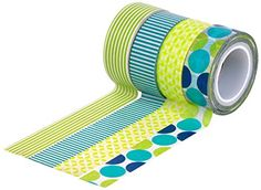 HIART Repositionable Washi Tape, Dots and Stripe Mother Nature, Green Blue, Set of 4 HIART http://www.amazon.com/dp/B00MFL9B3O/ref=cm_sw_r_pi_dp_k1qAub0CGTW9R