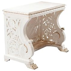 White Painted Indian Antique Console Table 1