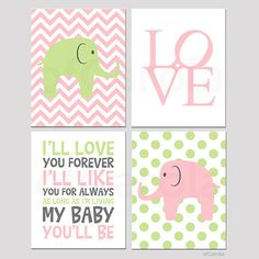 Baby PRINT Personalized Kids Room - Love Elephants Nursery Quote Print, Choose Colors - Pastel Pink Green White Grey Colors - 8x10 inch