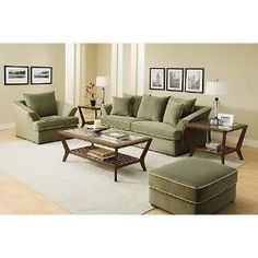 What color paint for olive green sofa? Sage Living Room, Living Room Sofa, Living Room Decor, Green Couch Decor, Green Sofa, Green Furniture, Green Walls, Living Room Color Schemes, Paint Colors For Living Room
