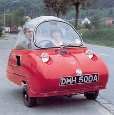 1964 Peel Trident ~ Peel microcars were built at Peel, Isle of Man, in the 1960's, by Peel Engineering. Two main models were produced in limited numbers: the two passenger Trident, and single passenger P50. At just 54 inches in length, the P50 remains the world's smallest production car.