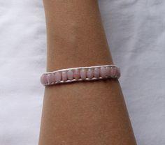 BRACELET WRAP CORDON DE COTON ET PERLES ROSES : Bracelet par kiline