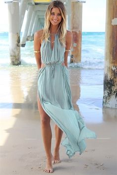 Light denim maxi with side cut outs.