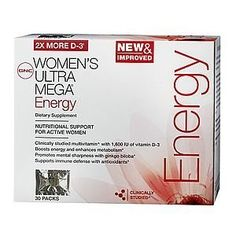 GNC Women's Ultra Mega Energy Vitapak 30 Packs by GNC. $25.02. NUTRITIONAL SUPPORT FOR ACTIVE WOMENClinically studied multivitamin^ with 1,600 IU of vitamin D-3Boosts Energy and enhances metabolism*Promotes mental sharpness with ginkgo biloba*Supports immune defense with antioxidants*