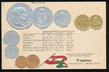 Ungarn  Hungary   Ansichtskarte  Prägekarte  Münzen   Silber + Gold  Koruna