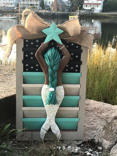 Items similar to SALE Patriotic Mermaid Shutter, Americana Shutter Wall Decor on Etsy Under The Sea Decorations, Shutter Wall Decor, Mermaid Wall Art, Diy Christmas Gifts, Christmas Ideas, Small Canvas Art, Mermaids And Mermen, Summer Crafts, Beach Art