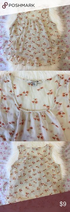 NWOT Forever 21 Sheer Floral Top! NWOT Forever 21 Sheer Floral Top!                                             • Brand & Size: Forever 21 & Large!                                                • Happy to answer any ?'s!                                                         • Offers welcome! Forever 21 Tops Tank Tops