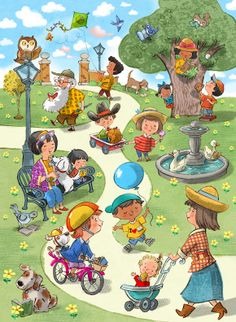 A day in the park... looking for books. Can you find all 20 books? - John Nez children's book illustration