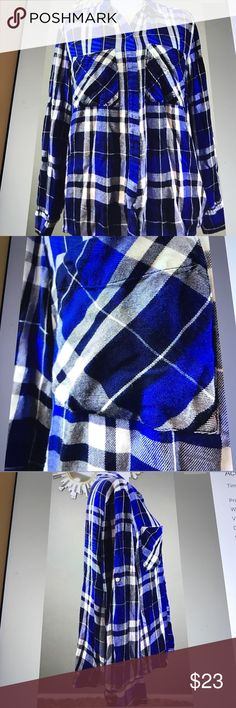 Express Women's Plaid blue and black shirt small Express Women's blue and black Plaid shirt size small new condition 28 long 19 across chest sleeves can be rolled and buttoned Express Tops Button Down Shirts