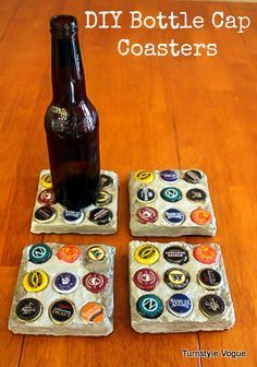 Make your own bottle cap coasters!  Thin square slabs of concrete embedded with bottle caps, then sealed with poly & add a felted bottom. Pretty easy, right?!?   Thanks to Turnstyle Vogue for the photo!