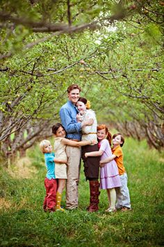 family photo in grove