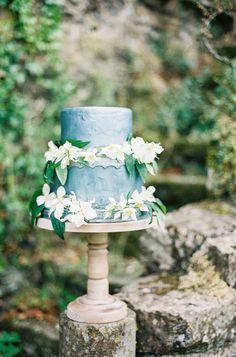steely blue wedding cake with fresh flowers— http://www.stylemepretty.com/2014/01/31/romantic-grey-gold-wedding-inspiration/