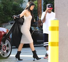 Kylie Jenner dresses in slinky dress for dinner date with on-again beau Tyga in California | Daily Mail Online