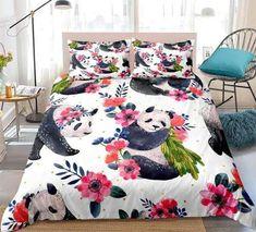 Floral Panda Bedding Set
