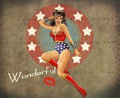 Pinup Bombshell Illustrations of Iconic Geek Characters - Bombshell Pinups of Iconic Geek Women - Wonder Woman Wonder Woman Art, Wonder Woman Comic, Wonder Women, Superman, Comic Art, Comic Books, Pin Up Girl Vintage, Nerd Love, Nose Art