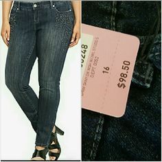 """NWT Size 16 Torrid Studded Skinny Jean  1 Day SALE NWT Torrid Studded Skinny Jeans  1 DAY ONLY SALE   With a sleek silhouette, these studded skinny jeans are a versatile go-to piece for the fashion-savvy.      NWT Torrid Studded Skinny Jeans  98% Cotton 2% Spandex  Size 16  Inseam 32""""  Waist 38""""- 40""""  Low Hip 48""""- 50""""  Retail Price $98.00  These fit like skinny jeans not jeggings.  Please only fair bids only!   Trades   Paypal   SCAMMERS """"Scammers WILL BE prosecuted."""" Torrid Premium Jeans…"""