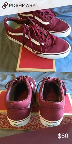 Old skool vans Maroon colored vans that haven't been worn and look great. They are great quality and a perfect sneaker for any style of dresser. Vans Shoes Sneakers