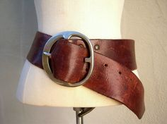 Vintage saddle leather belt / WIDE boho distressed leather belt // heavy silver burnished iron buclke by dahlilafound, $115.00