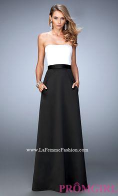 Strapless Two Toned Formal Dress by La Femme LF-21555