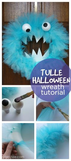 How to Make a Halloween Wreath With Tulle // Step-by-step instructions for a Halloween tulle wreath. Great for monster birthday party decorations too!
