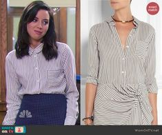April's striped button down blouse on Parks and Recreation.  Outfit Details: http://wornontv.net/44771/ #ParksandRecreation