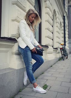 Casual with white converse