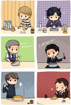 How to bake a cake feat. Jonh, Sherlock, Lestrade, Moriarty, Sebastian Moran and Mycroft Sherlock Holmes Bbc, Sherlock Fandom, Jim Moriarty, Sherlock Quotes, Sherlock John, Sherlock Comic, Watson Sherlock, Wallpapers Tumblr, Vintage Wallpapers