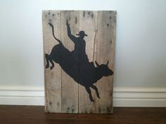 Bull Rider Silhouette pallet wood sign by TheCreativePallet, $40.00