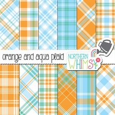 Blue and Orange Digital Paper - turquoise, aqua, and orange plaid scrapbook paper - tartan printable paper - commercial use OK